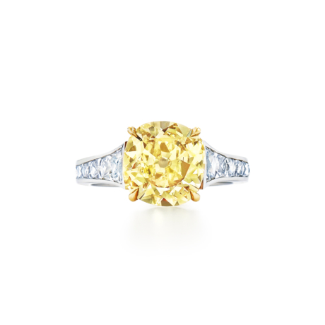 Old Mine Cushion Fancy Intense Yellow Diamond Ring Signed Fred Leighton Style 29276