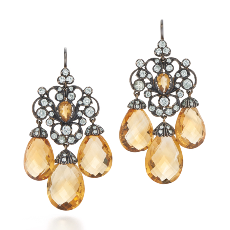 Signed Fred Leighton Diamond and Citrine Earrings 32680