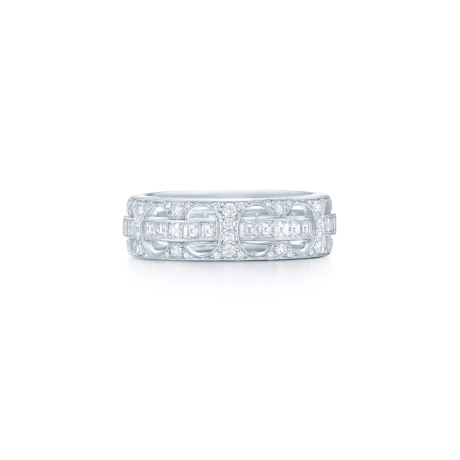 Signed Fred Leighton Diamond Arches Eternity Band Ring R1027-DIA