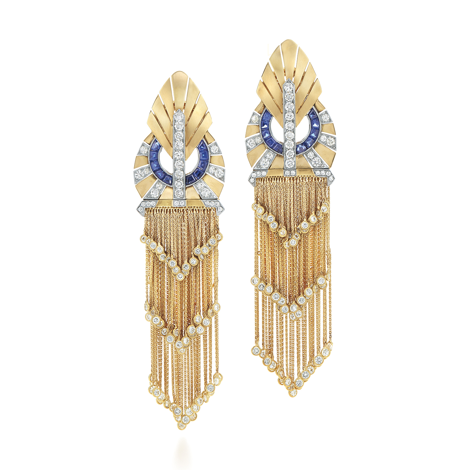 Signed Fred Leigton Diamond and Sapphire Dress Clip Earrings in Yellow Gold E-34494-FL-0-0