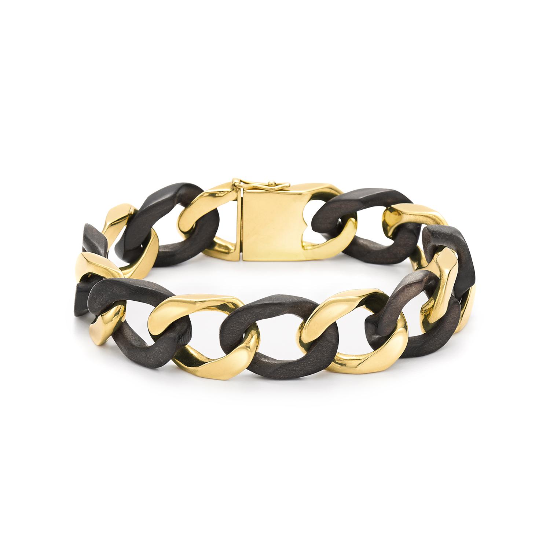 Wood and Yellow Gold Curb Link Bracelet by Van Cleef & Arpels, Serial FL34943