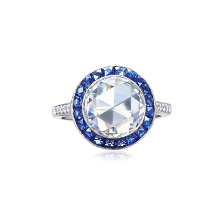 Oval Rose Cut Diamond and Sapphire Halo Ring Signed Fred Leighton Style F1003-DIASAPP