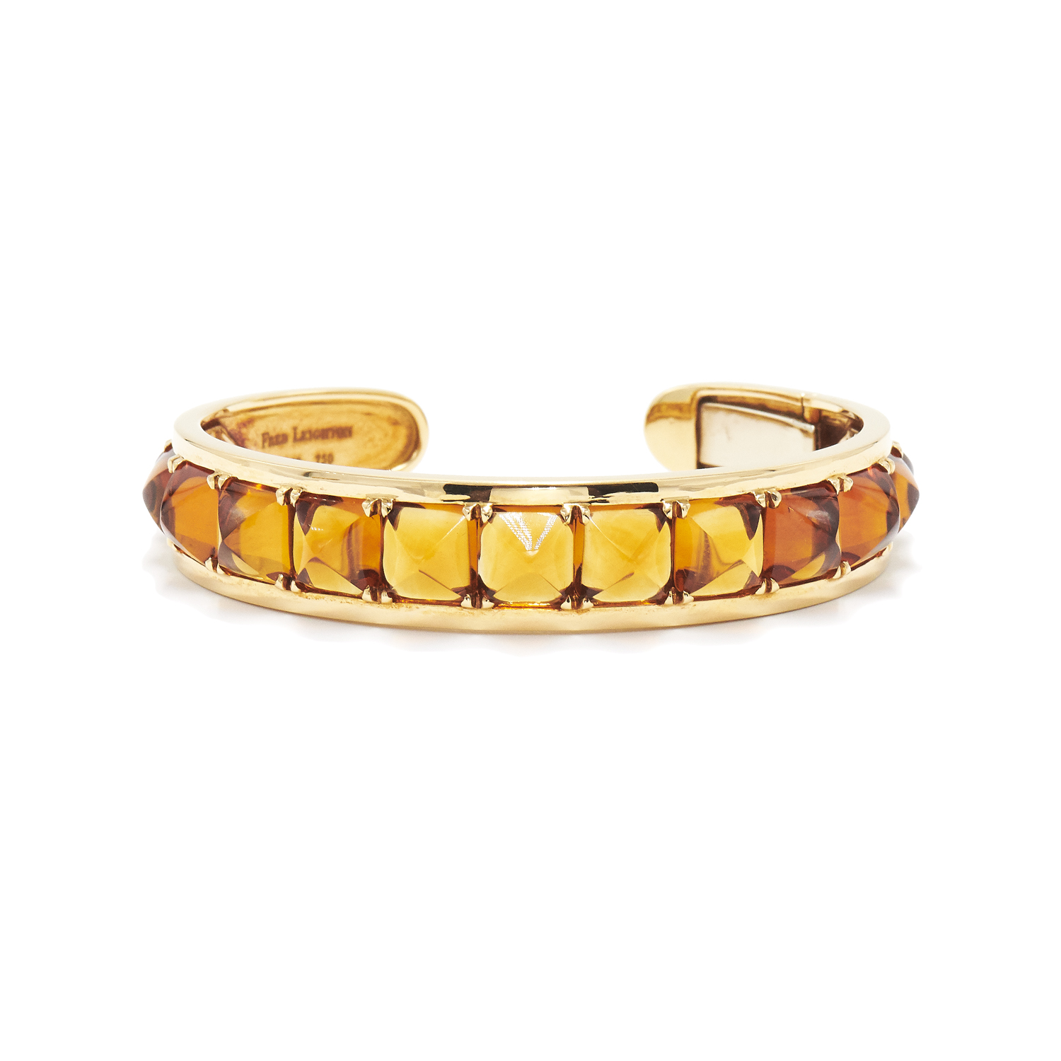 Signed Fred Leighton 18K Yellow Gold Sugarloaf Citrine Cuff Style B-1040FL-0-CIT-18KY