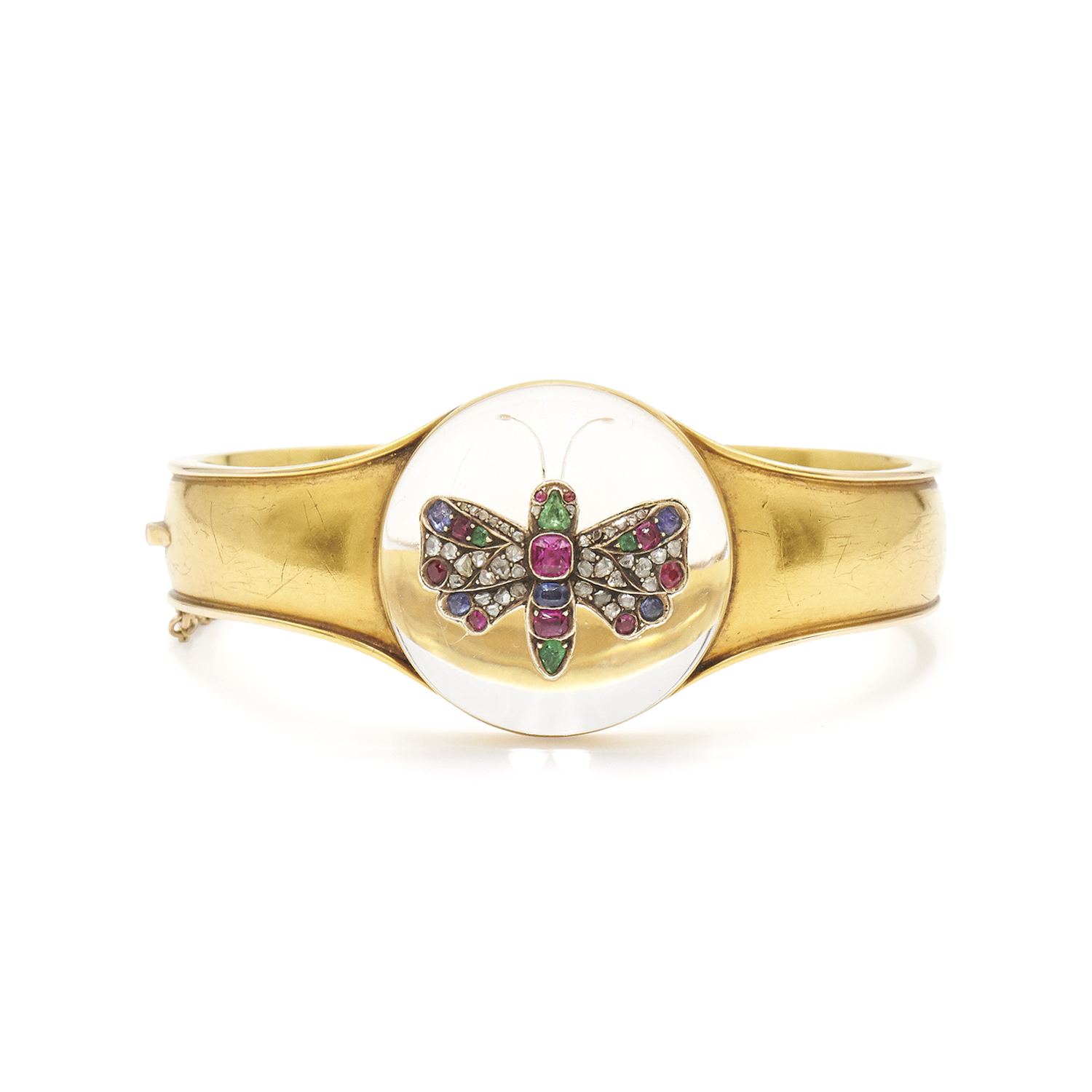 Victorian Jeweled Inlay Rock Crystal Butterfly Dome Bangle, Serial FL27169
