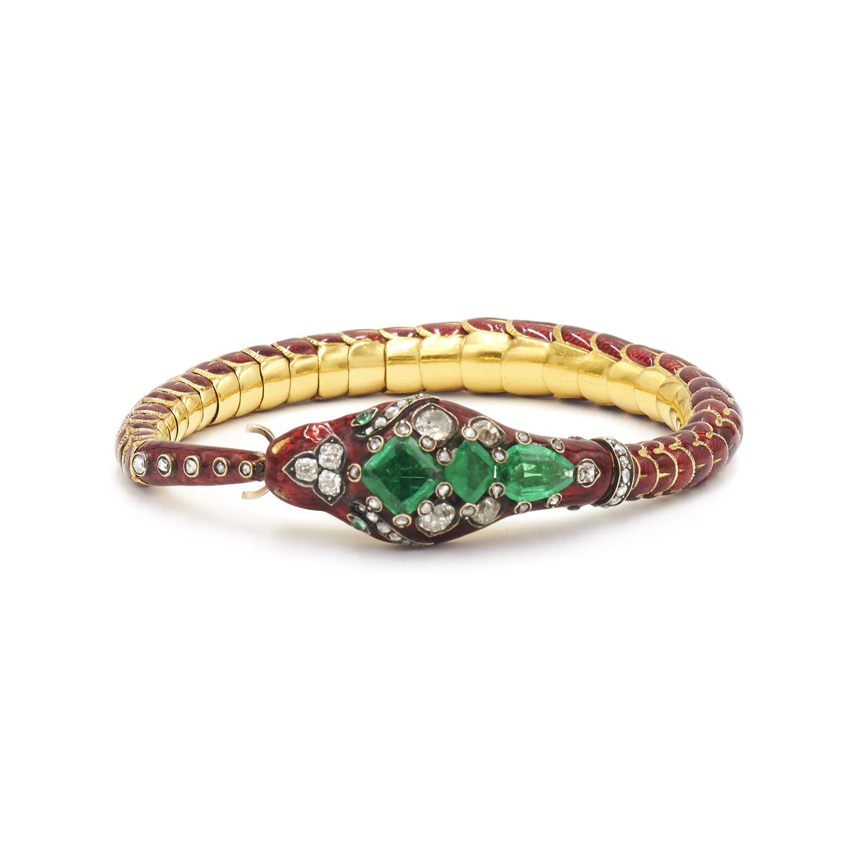 Victorian Red Enamel Colombian Emerald and Diamond Snake Bracelet, Serial FL27235