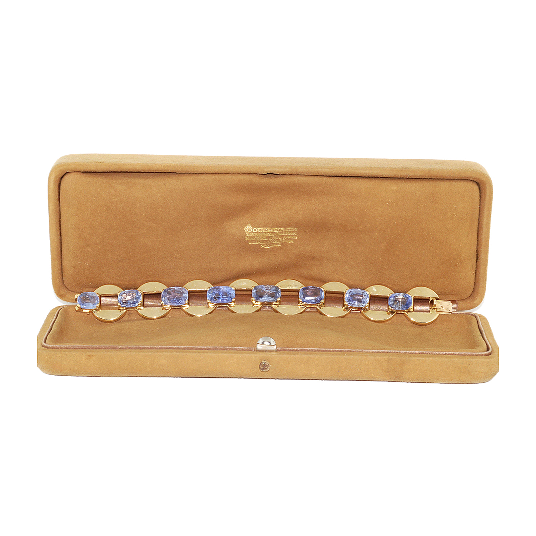 18K Yellow Gold and Sapphire Circle Link Bracelet by Boucheron Paris Style B-27683-FL-0-0