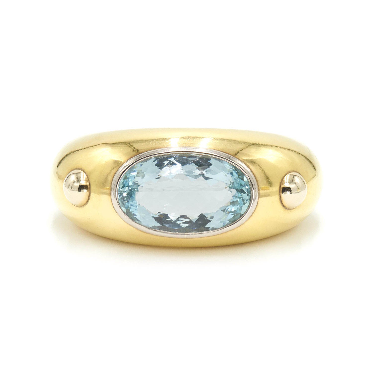 Yellow Gold and Aquamarine Cuff Bracelet by René Boivin Style B-28031-FL-0-0