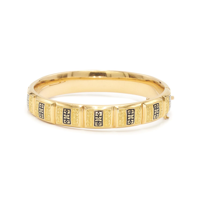 Antique Yellow Gold Enamel Bangle, Serial FL32103