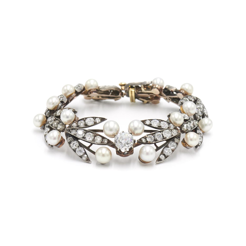 Antique Diamond and Natural Pearl Leaf Motif Bracelet, Serial FL34338