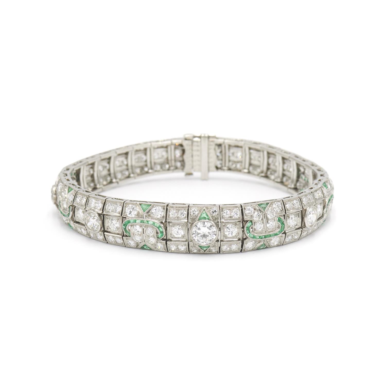 Art Deco Diamond and Emerald Bracelet, Serial FL34431