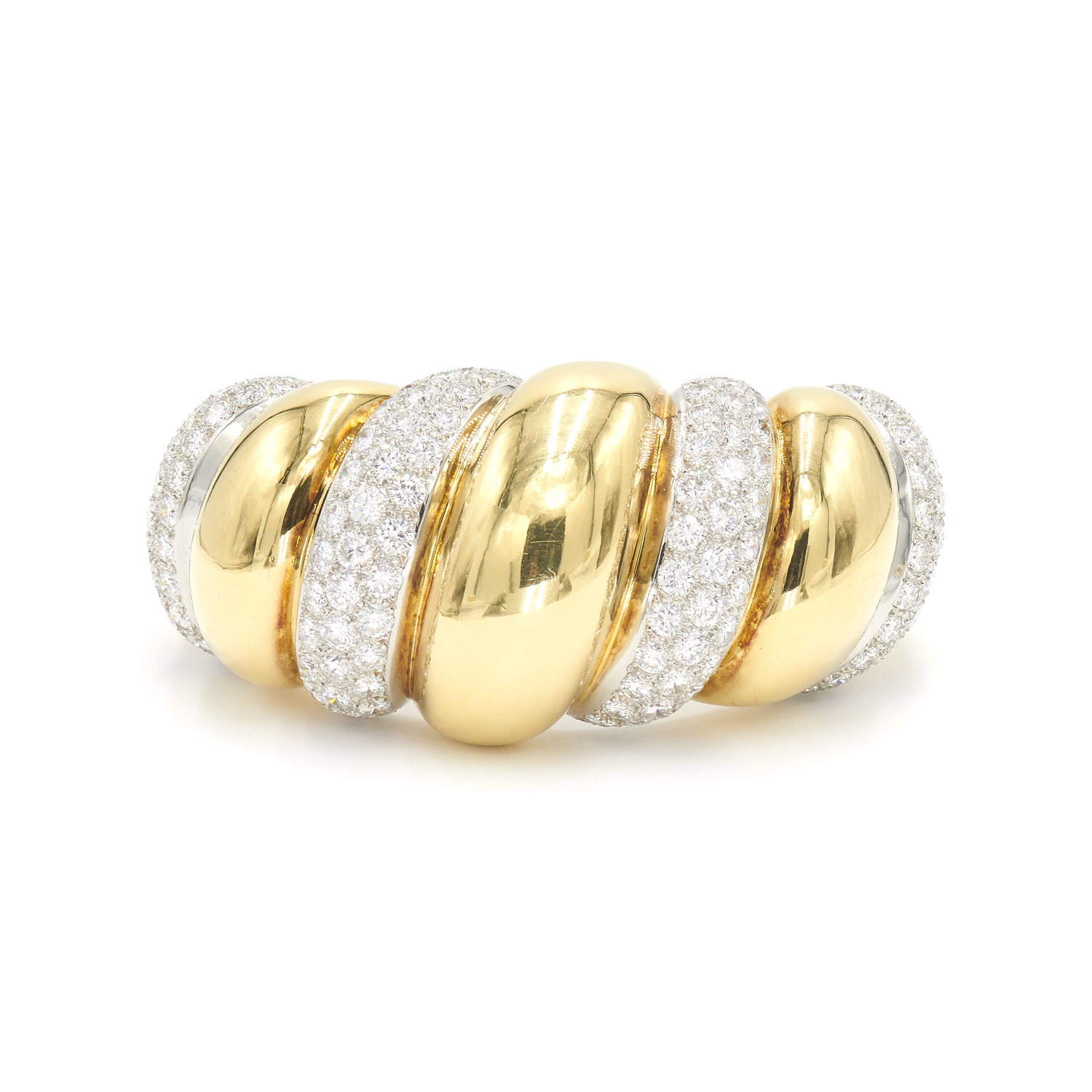 Diamond and Yellow Gold Torsade Cuff Bracelet by René Boivin Style B-34857-FL-0-0