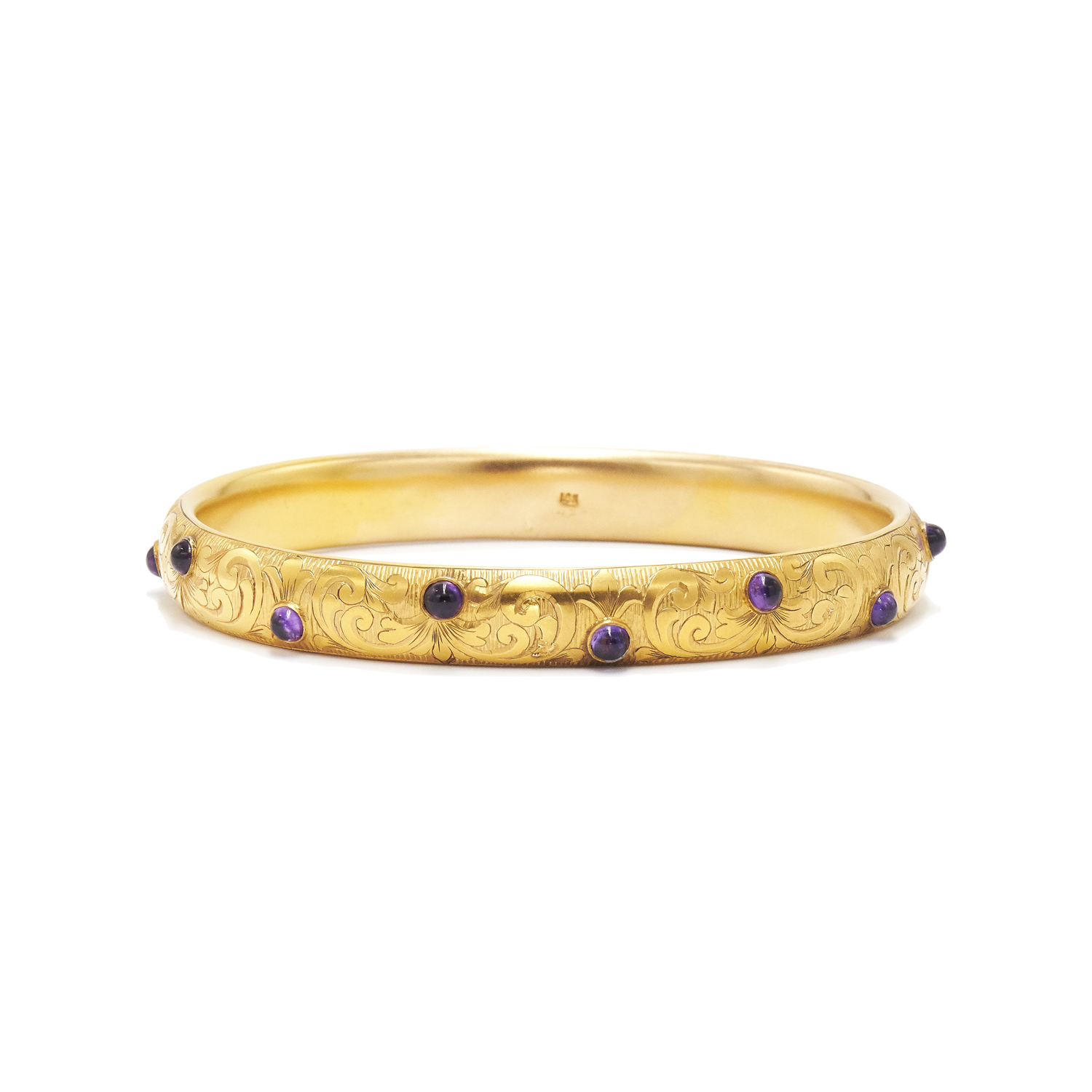 Antique 14K Yellow Gold and Cabochon Amethyst Engraved Bangle Style B-37570-FL-0-0