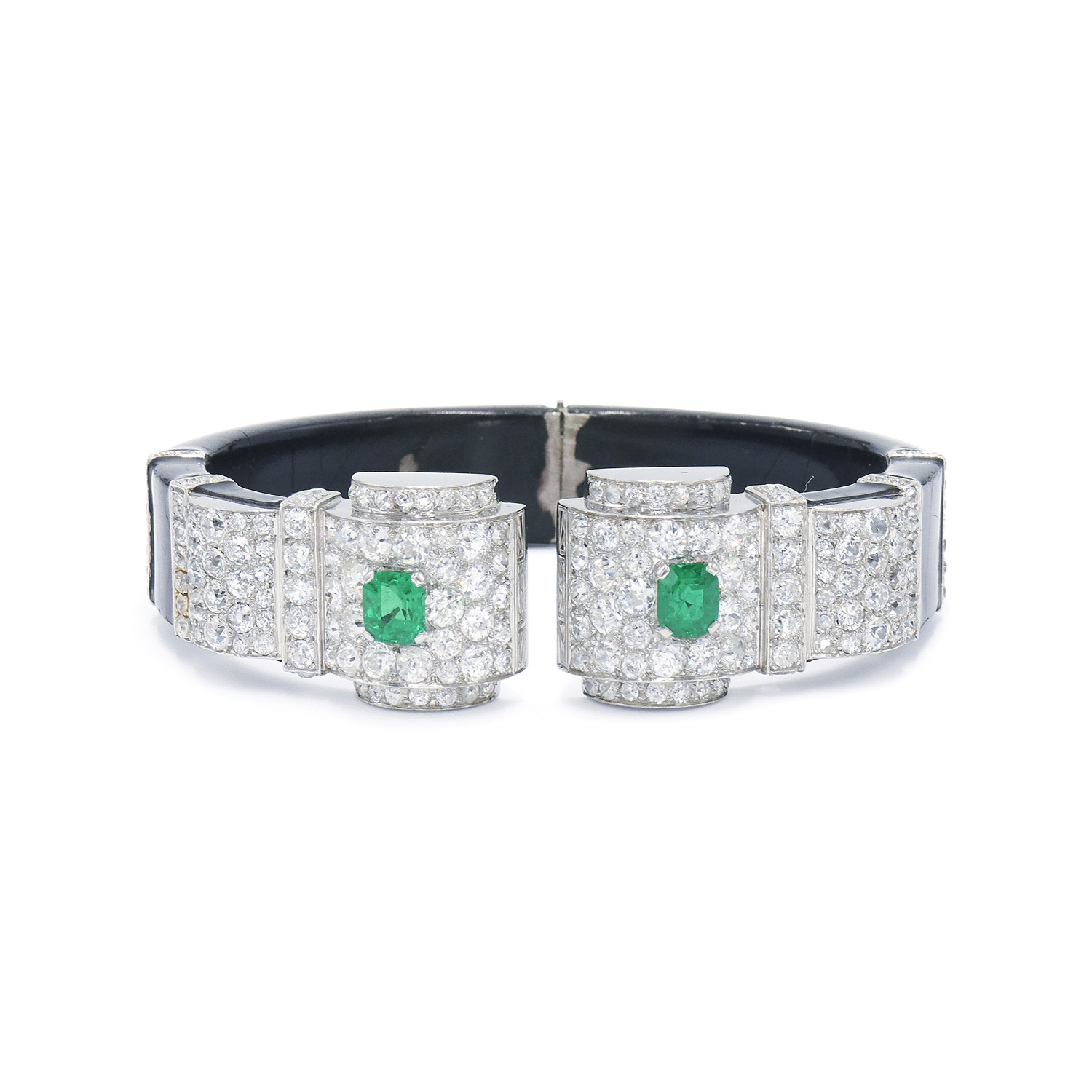 Art Deco Emerald, Diamond and Black Enamel Hinged Bangle, Serial FL38048