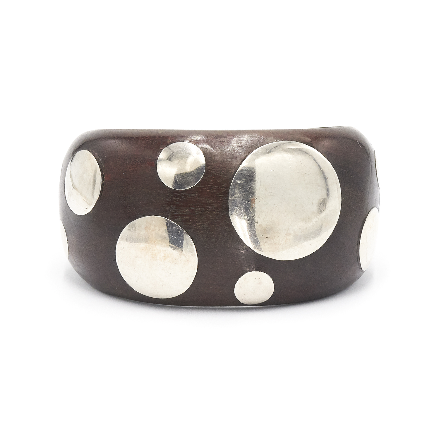Wood and Silver Dotted Cuff Bracelet by William Spratling Style B-39265-FL-0-0