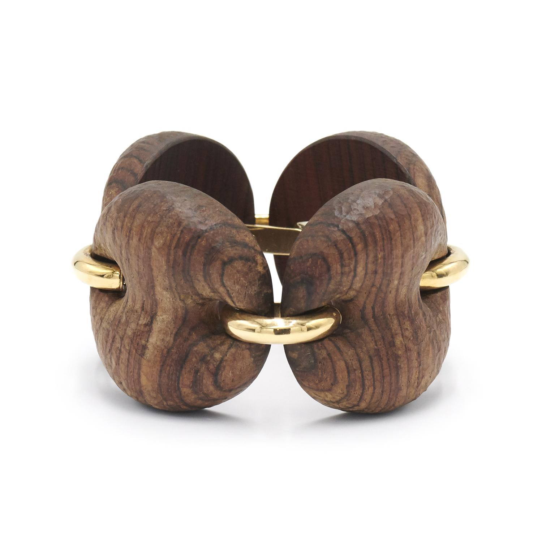 Macassar Wood and 18K Yellow Gold Marina Bracelet by Antonia Miletto, Serial FL39365