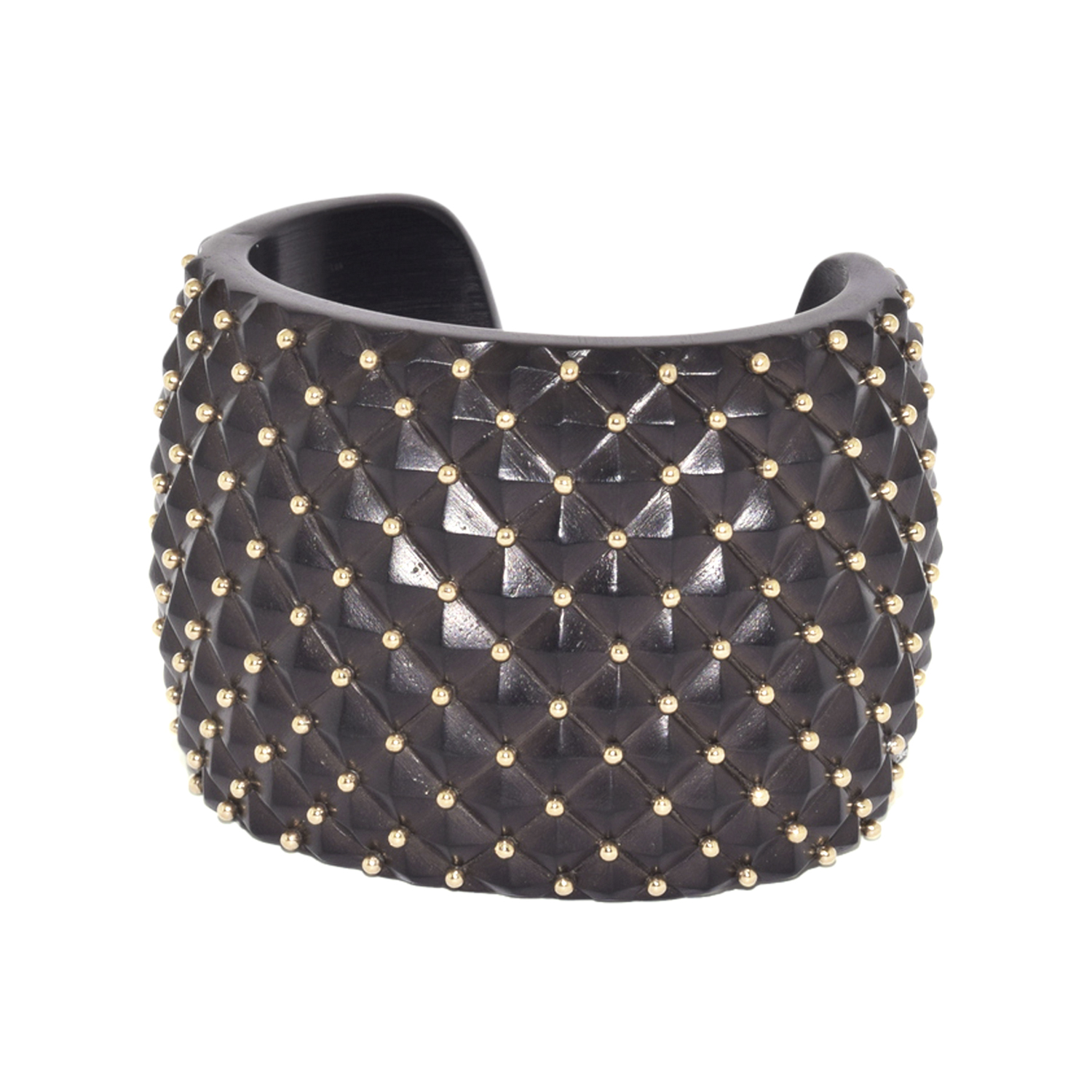 Ebony and Yellow Gold Studded Quilted Cuff by Antonia Miletto, Serial FL39369