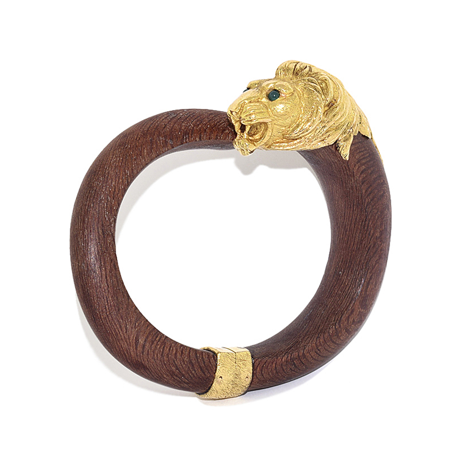 18K Yellow Gold and Wood Lion Head Bangle by Van Cleef & Arpels, Serial FL39731