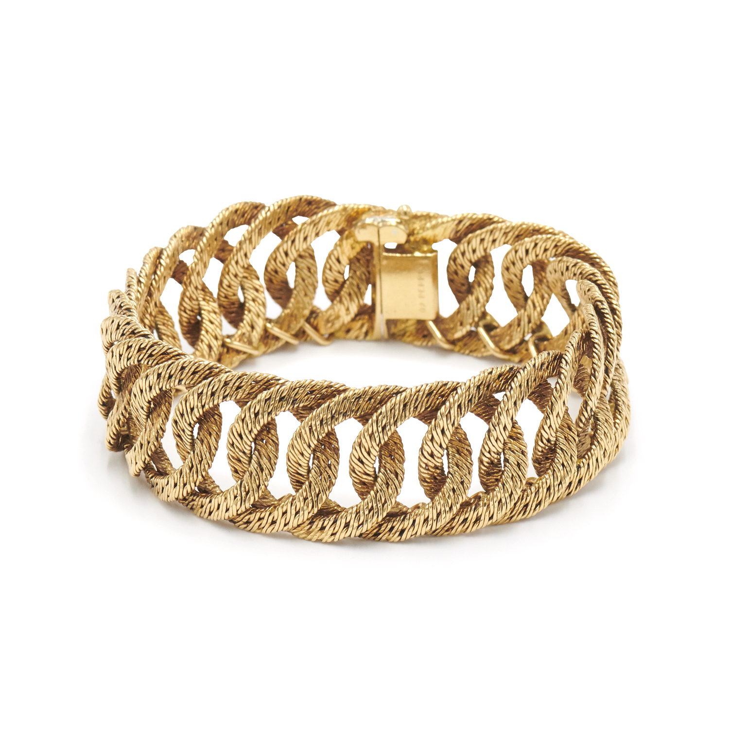 18K Yellow Gold Textured Curb Link Bracelet by Georges L`Enfant for OJ Perrin, Serial FL40012