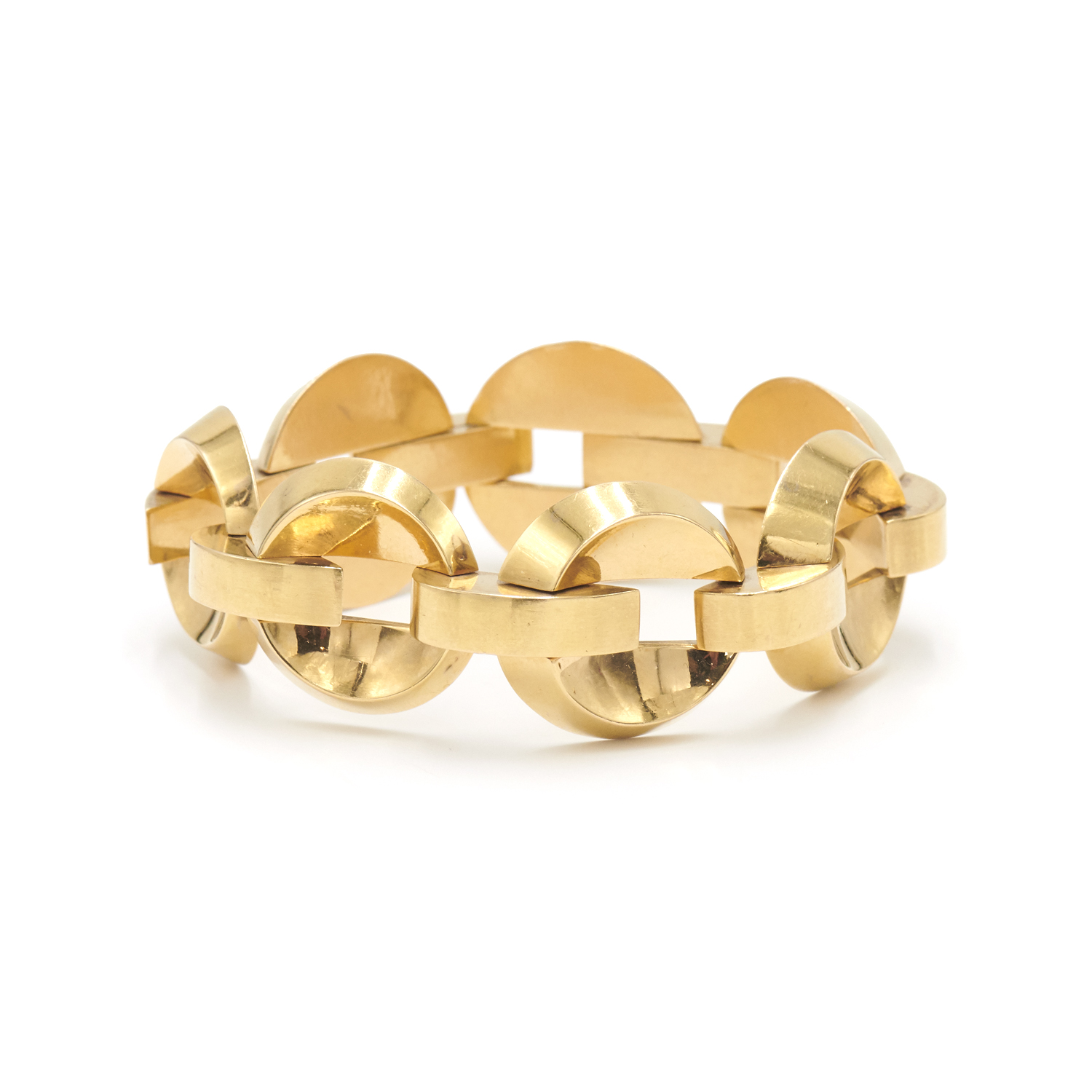 18K Yellow Gold Concave Disc Link Bracelet, Serial FL40414