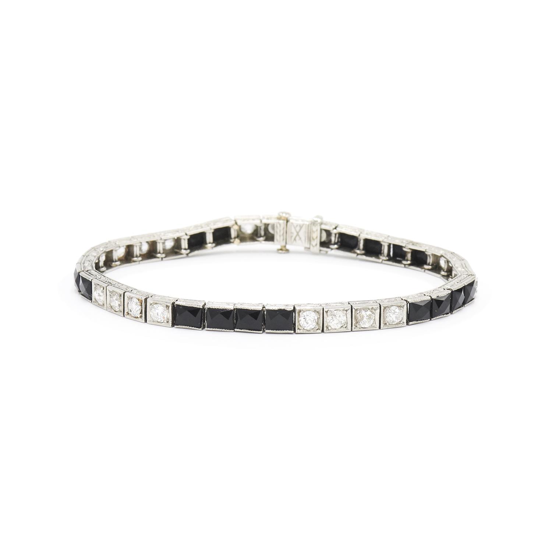 Art Deco Platinum Onyx and Diamond Patterned Line Bracelet