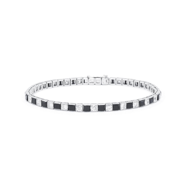 Art Deco Onyx and Diamond Alternating Pattern Line Bracelet by Cartier Style B-40919-FL-0-0