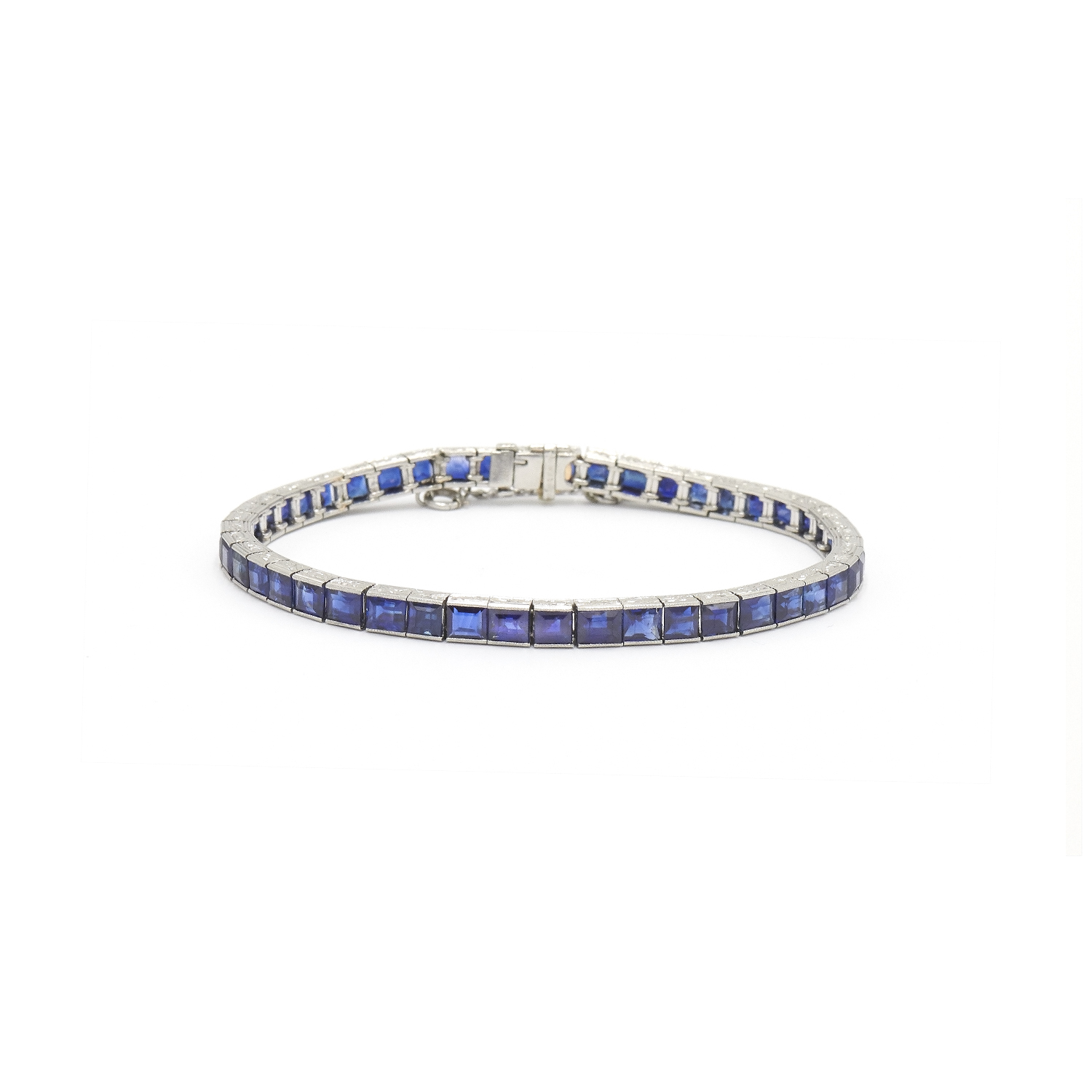 Art Deco Platinum Sapphire Line Bracelet by Tiffany & Co. Style B-41144-FL-0-0