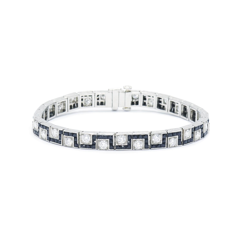 Art Deco Onyx and Diamond Greek Key Bracelet Style B-41516-FL-0-0
