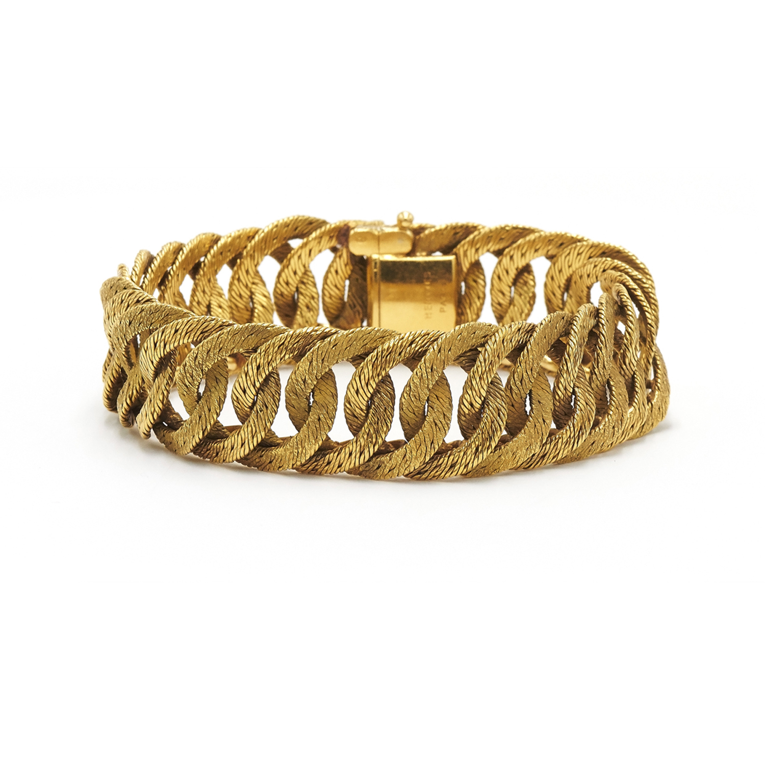 18K Yellow Gold Textured Curb Link Bracelet by Georges L'Enfant for Hermès Style B-41569-FL-0-0