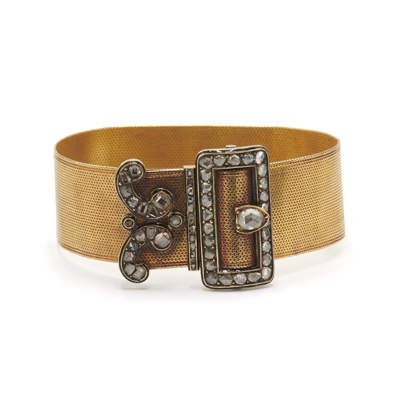 Antique 18K Yellow Gold Mesh Rose Cut Diamond Buckle Bracelet, Serial FL41609