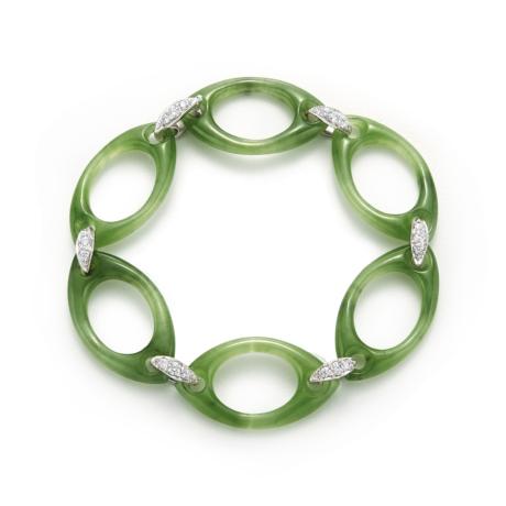 Signed Fred Leighton Green Nephrite Link Bracelet B1001-GRNE