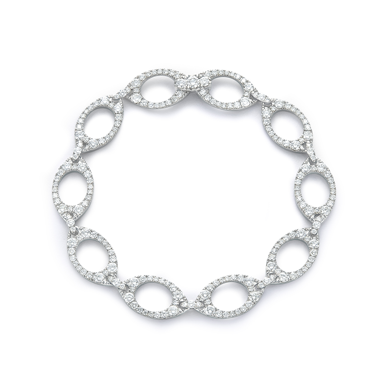 Signed Fred Leighton Diamond Link Bracelet B1016-DIA
