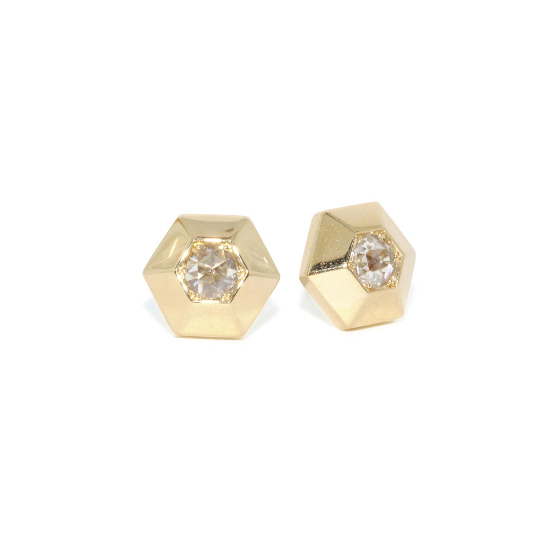 Yellow Gold Rose Cut Diamond Hexagonal Stud Earrings Signed Fred Leighton, Style E-1085FL-0-DIA-18KY