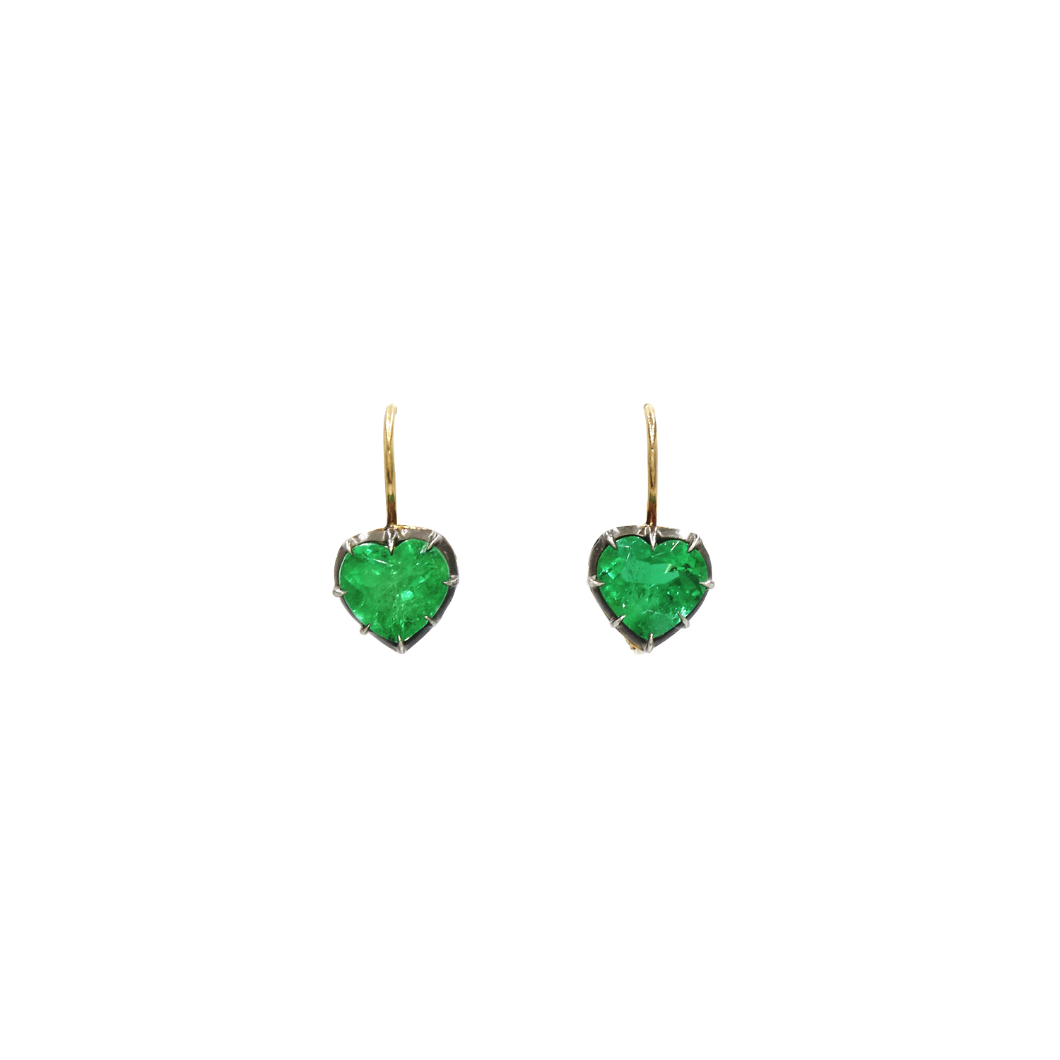 Heart Shape Emerald Collet Single Drop Earrings Signed Fred Leighton Style E-1115FL-0-EME-SVGO