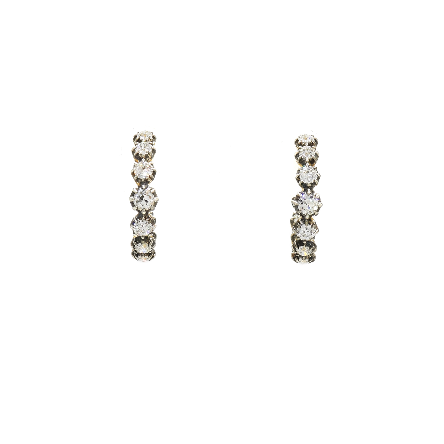 Fred Leighton Round® Diamond Collet Hoop Earrings Style E-1125FL-0-DIA-SVGO