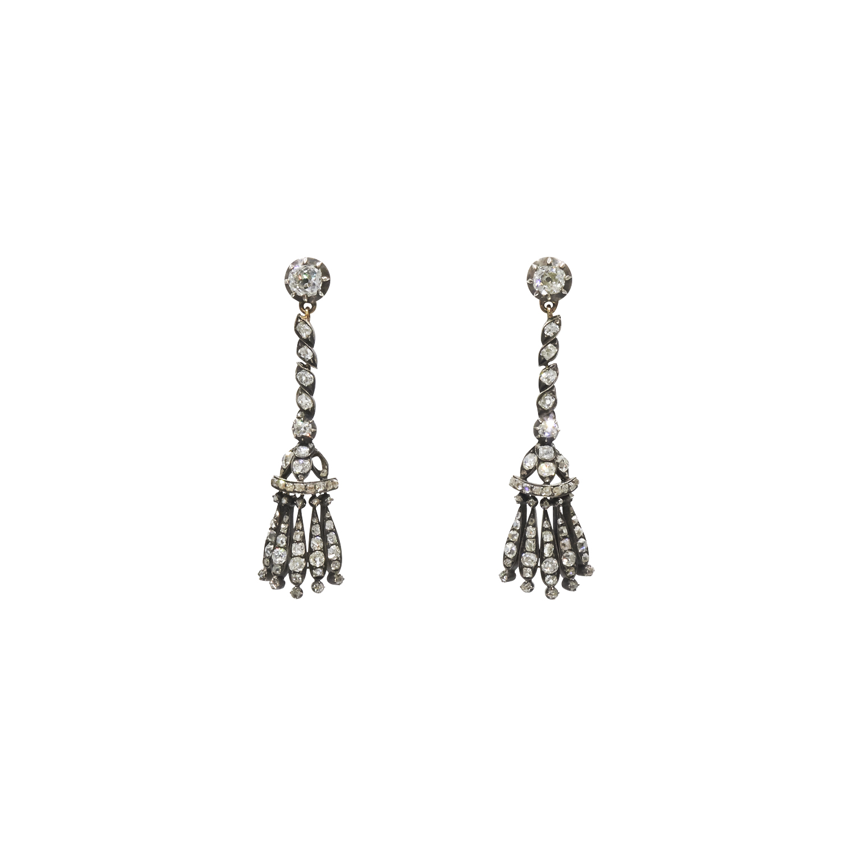 Antique Old Mine Diamond Tassel Pendant Earrings Style E-26107-FL-0-0