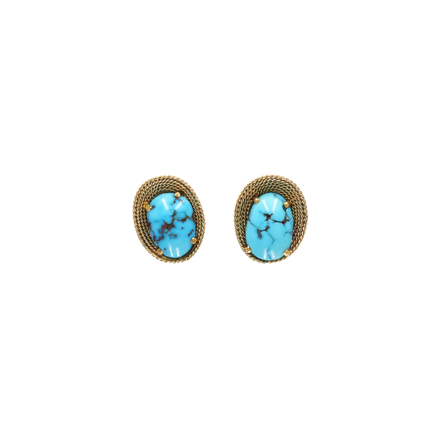 18K Yellow Gold and Turquoise Wirework Earrings by Sterlé Style E-32665-FL-0-0