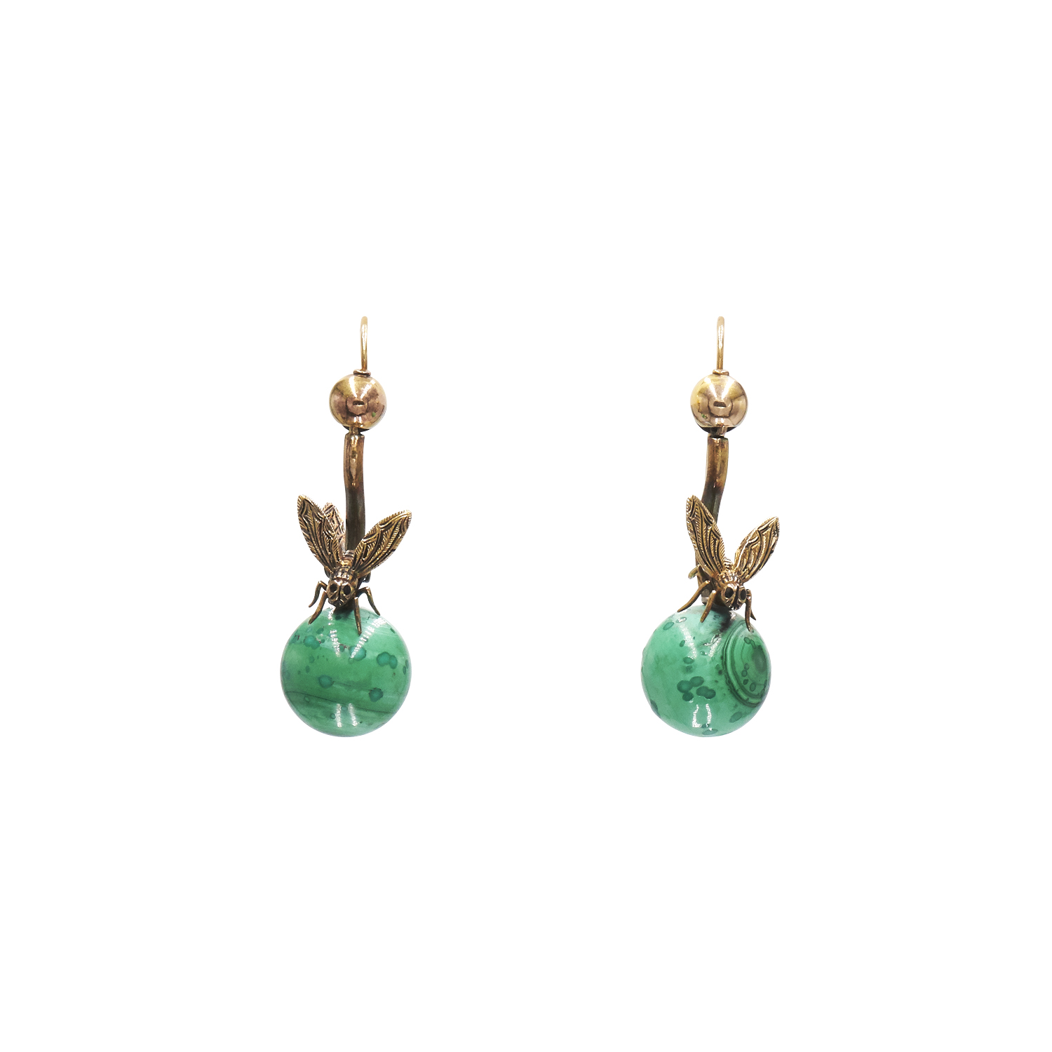 Antique 14K Yellow Gold Malachite Fly Earrings Style E-32956-FL-0-0