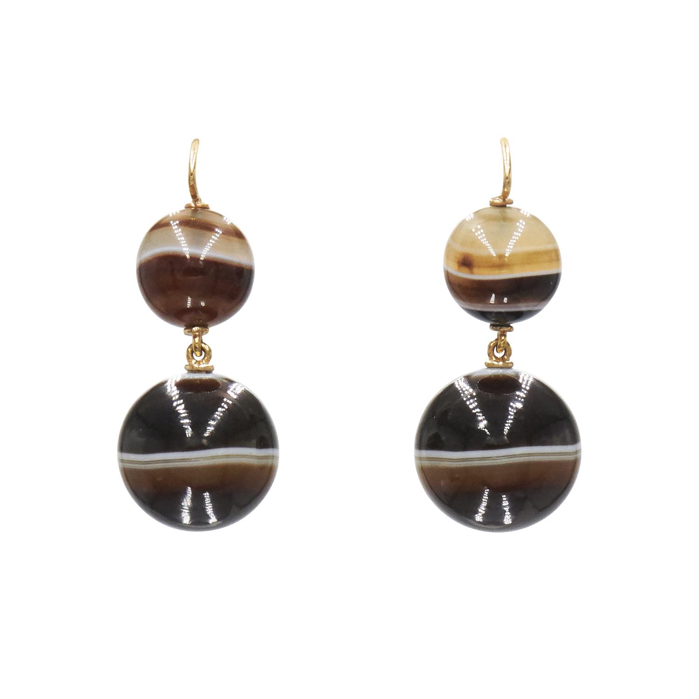 Antique Banded Agate Pendant Earrings Style E-33639-FL-0-0