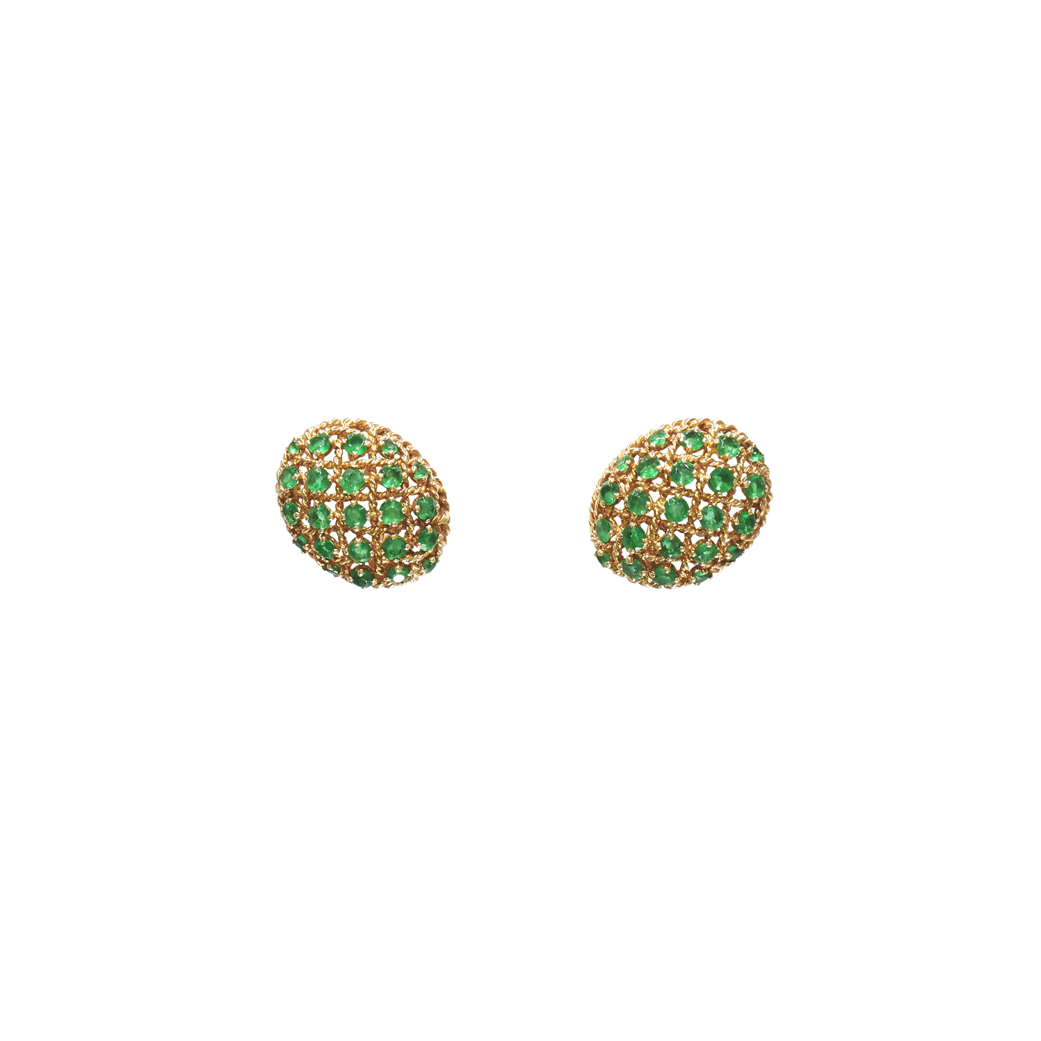 Yellow Gold and Emerald Egg Earrings by Cartier Paris Style E-34615-FL-0-0