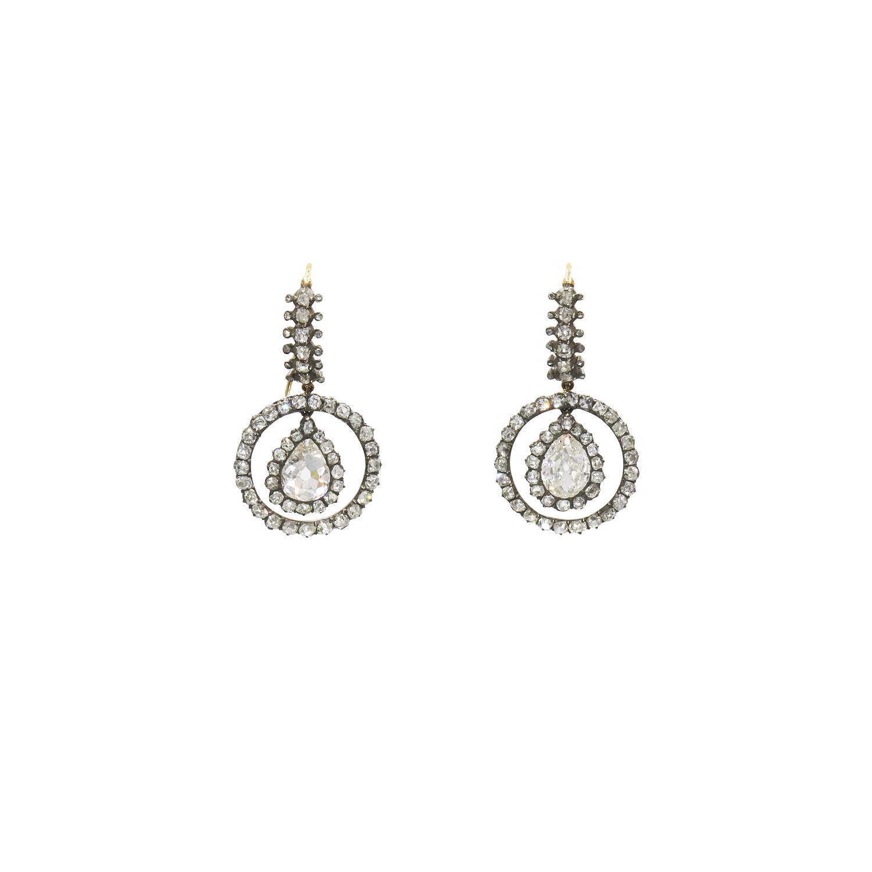 Antique Pear Shape Diamond Circle Motif Pendant Earrings Style E-38184-FL-0-0