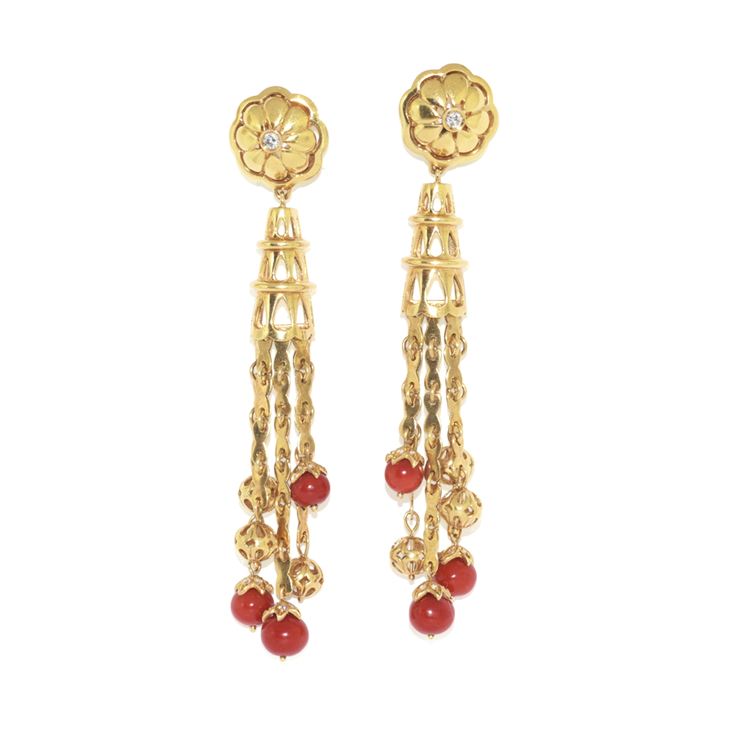 18K Yellow Gold and Coral Bead Pendant Earrings, Serial FL38769