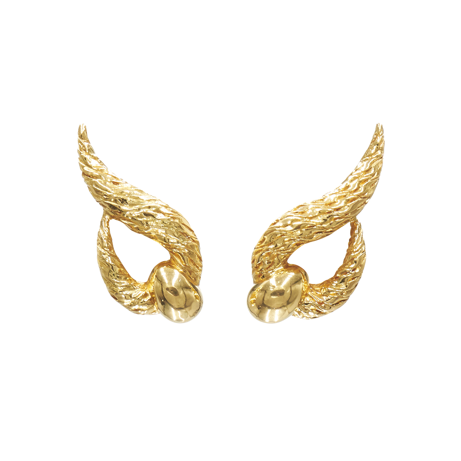 18K Yellow Gold Textured Stylized Knot Earrings by Cartier Style E-38819-FL-0-0