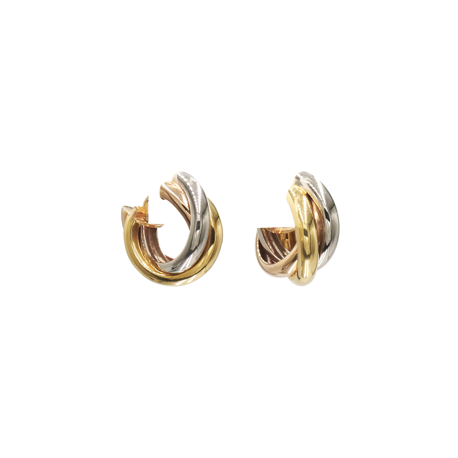 18K Tri-color Gold Trinity Hoop Earrings by Cartier