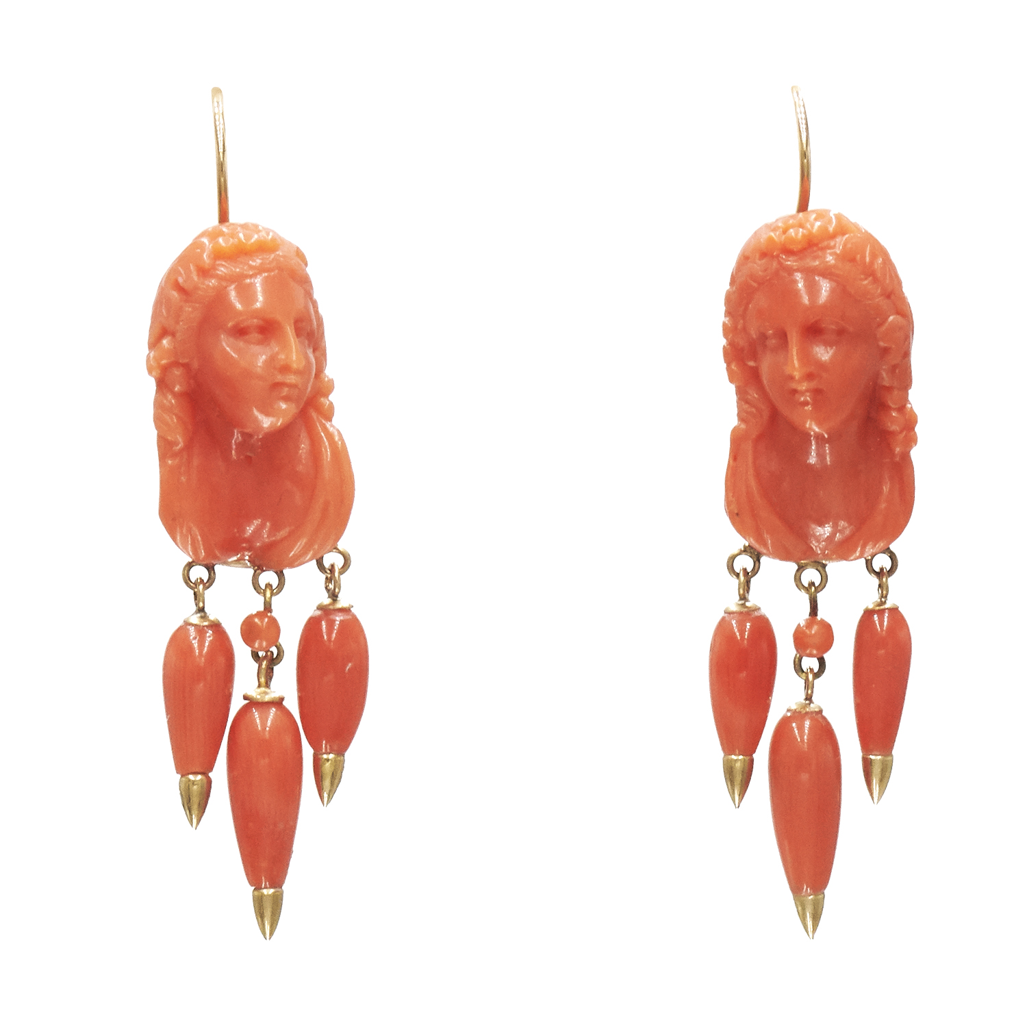 Antique Carved Coral Cameo Pendant Earrings Style E-39017-FL-0-0