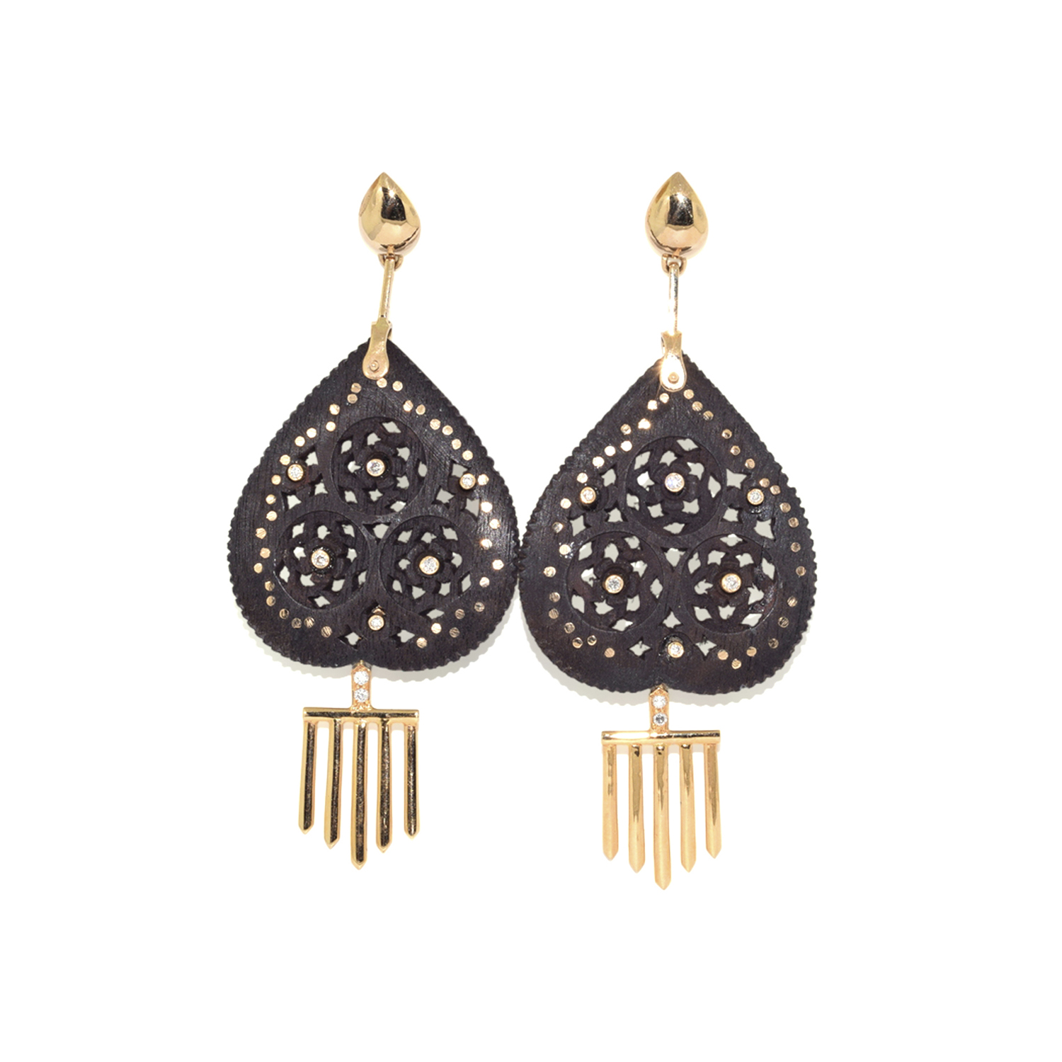 18K Yellow Gold, Ebony Wood and Diamond Pendant Earrings by Hanut Singh, Serial FL39435