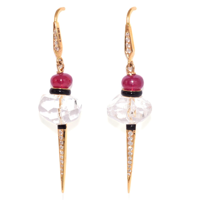 Rock Crystal, Ruby and Diamond Dart Pendant Earrings by Hanut Singh, Serial FL39442
