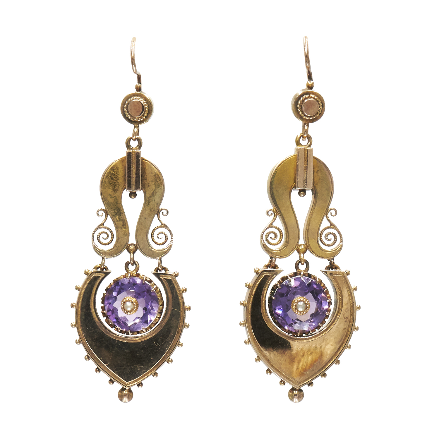 Antique 14K Yellow Gold and Amethyst Pendant Earrings Style E-40025-0-0-0
