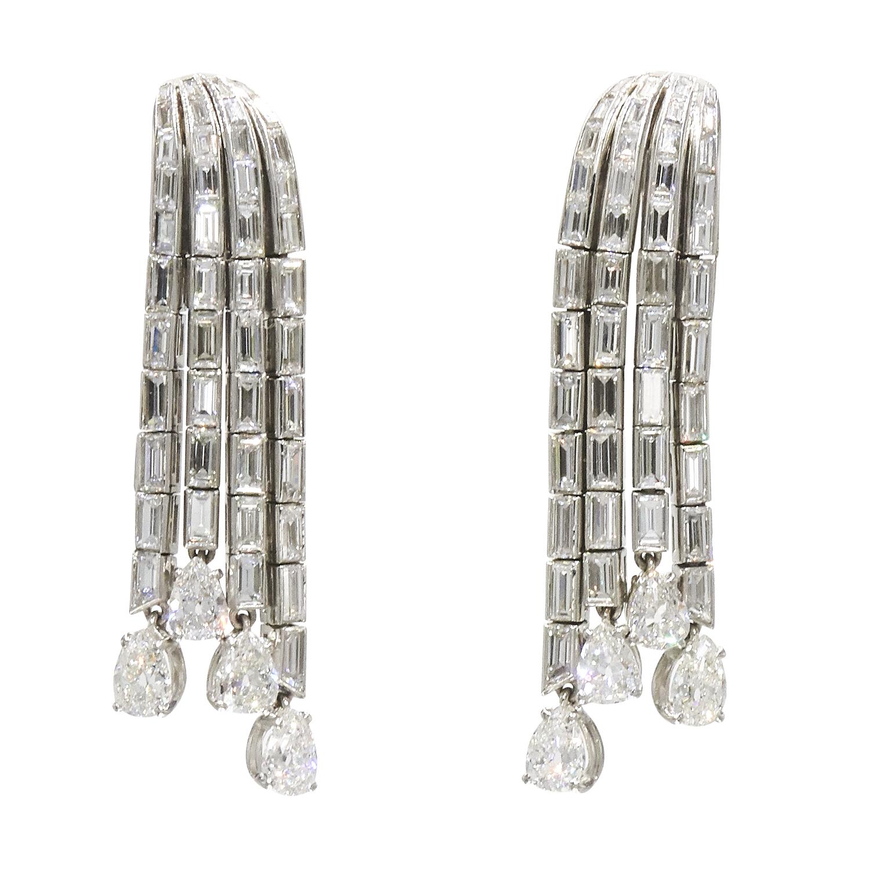 1950s Platinum Diamond Waterfall Pendant Earrings by Boucheron Style E-40591-FL-0-0