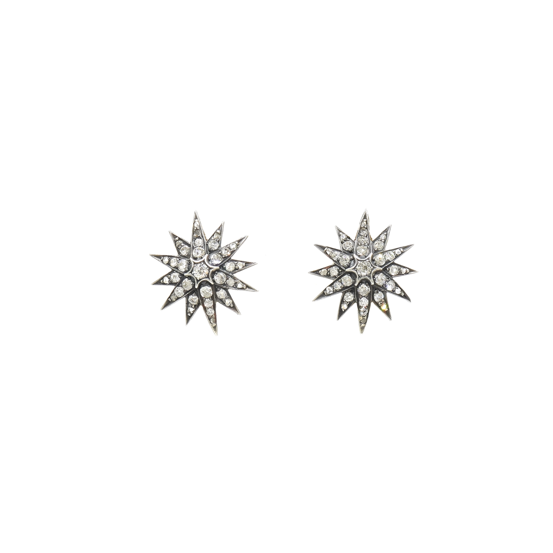Antique Old Mine Diamond Star Earrings Style E-40695-FL-0-0
