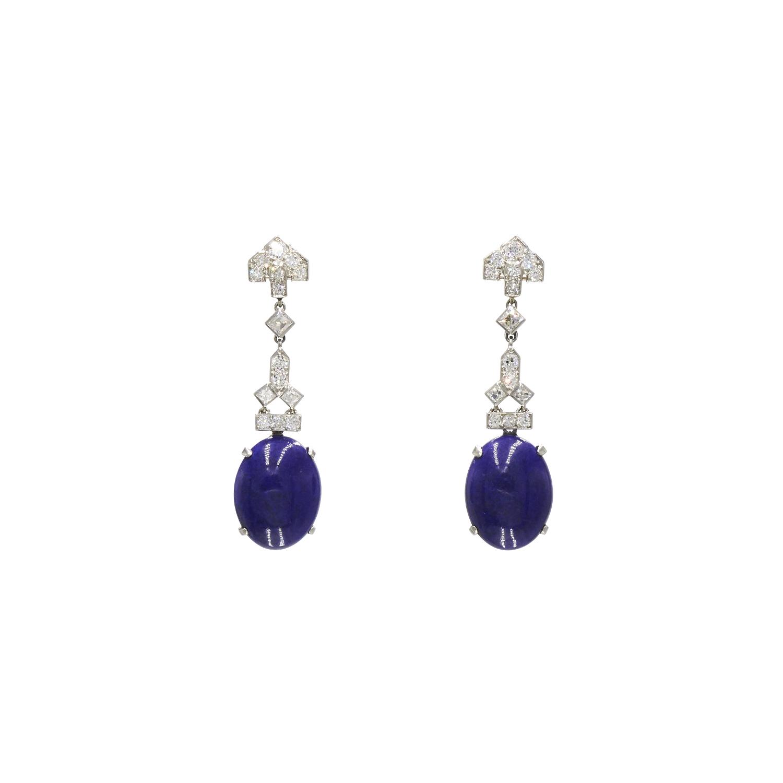 Art Deco Lapis and Diamond Pendant Earrings by Cartier Style E-41018-FL-0-0